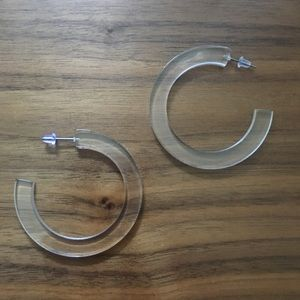 Clear acrylic acetate hoops earrings thick